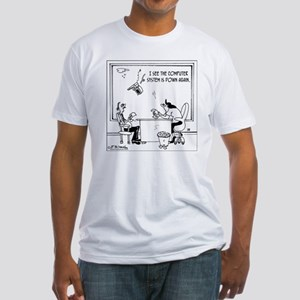 5397_computer_cartoon Fitted T-Shirt