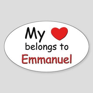 My heart belongs to emmanuel Oval Sticker