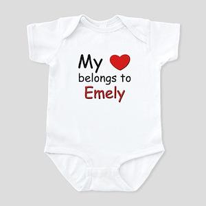 My heart belongs to emely Infant Bodysuit