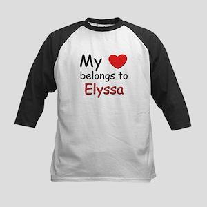 My heart belongs to elyssa Kids Baseball Jersey