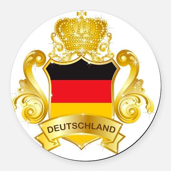 Gold1Deutschland1 Round Car Magnet