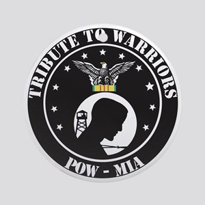 TRIBUTE TO WARRIORS RUN POW MIA Round Ornament