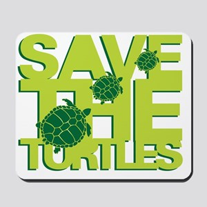 Save Turtles Green Slogan Mousepad