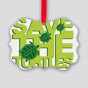 Save Turtles Green Slogan Picture Ornament