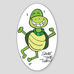 FUNNY SEA TURTLE Sticker (Oval)