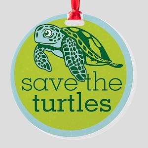 Save Turtles Logo Round Ornament