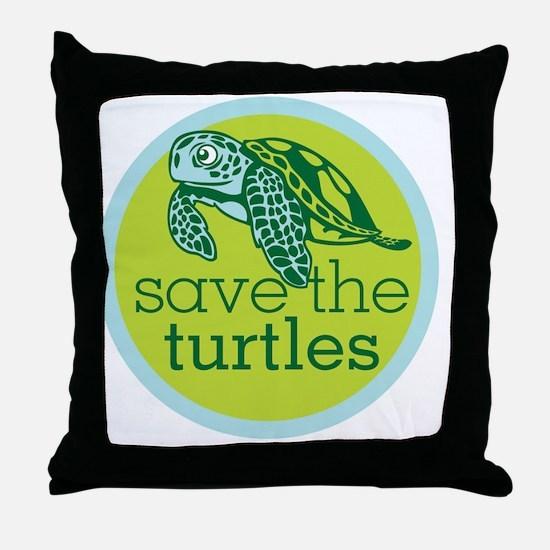 Save Turtles Logo Throw Pillow
