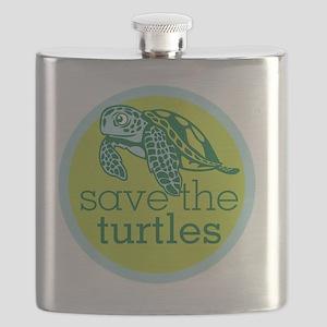 GREEN TURTLE HATCHLING LOGO Flask