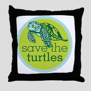 GREEN TURTLE HATCHLING LOGO Throw Pillow