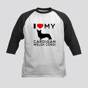 I Love My Cardigan Welsh Corgi Kids Baseball Jerse