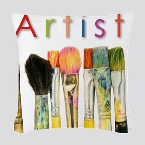 artist-paint-brushes-01 Woven Throw Pillow