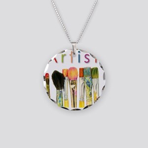 artist-paint-brushes-01 Necklace Circle Charm
