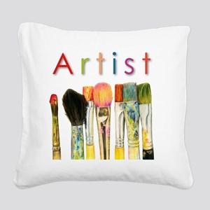 artist-paint-brushes-01 Square Canvas Pillow