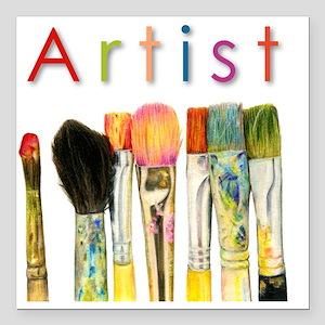 "artist-paint-brushes-01 Square Car Magnet 3"" x 3"""