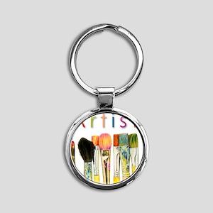 artist-paint-brushes-01 Round Keychain