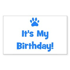 It's My Birthday - Blue Paw Rectangle Decal
