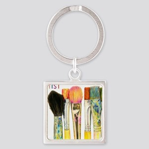 artist-paint-brushes-02 Square Keychain