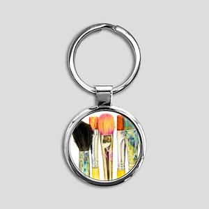artist-paint-brushes-02 Round Keychain