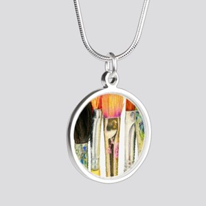 artist-paint-brushes-02 Silver Round Necklace