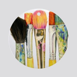 artist-paint-brushes-02 Round Ornament
