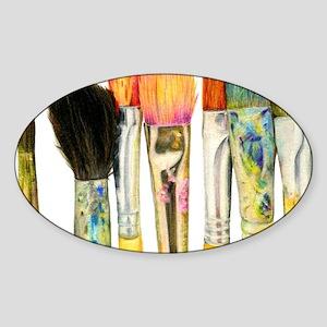 artist-paint-brushes-02 Sticker (Oval)