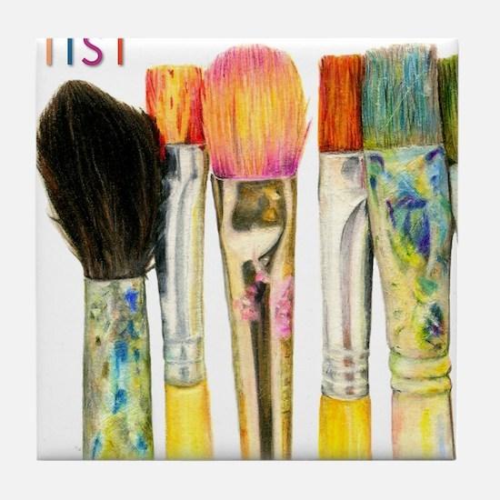 artist-paint-brushes-02 Tile Coaster
