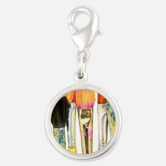 artist-paint-brushes-02 Silver Round Charm
