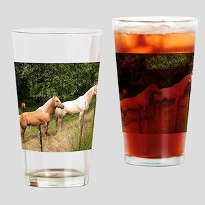 horses Drinking Glass