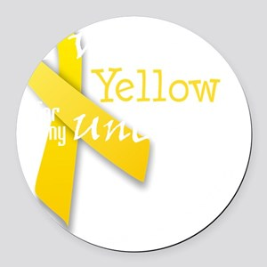 trans_i_wear_yellow_for_my_uncle Round Car Magnet