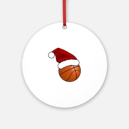 Christmas Basketball Round Ornament
