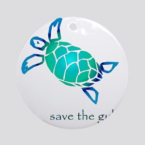 turtle-pap-blue-grad Round Ornament