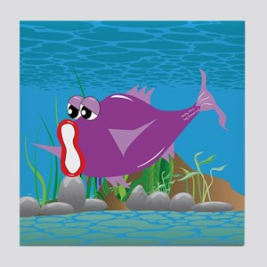 6-mouthy_fish_purple Tile Coaster