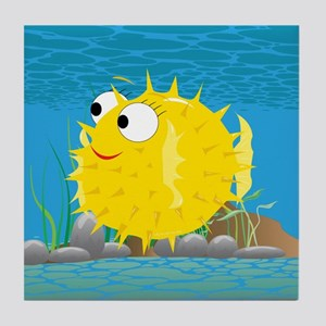 2-puffy_fish_yellow Tile Coaster