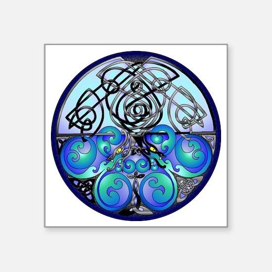 "Celtic Dragons in Blue Gray Square Sticker 3"" x 3"""
