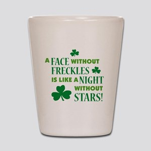 a face without freckles light Shot Glass