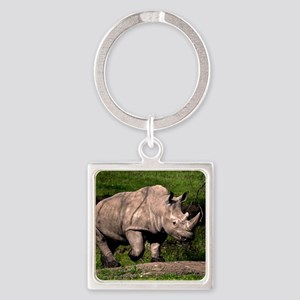 (2) Rhino on Hill Square Keychain