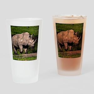 (2) Rhino on Hill Drinking Glass
