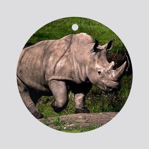(2) Rhino on Hill Round Ornament
