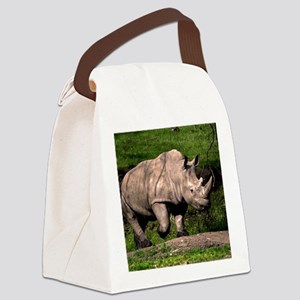(2) Rhino on Hill Canvas Lunch Bag
