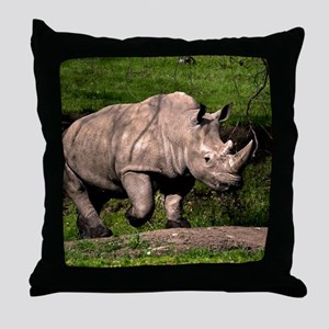 (2) Rhino on Hill Throw Pillow