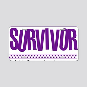purple_survivor Aluminum License Plate