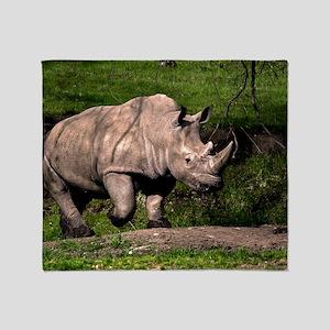 (6) Rhino on Hill Throw Blanket