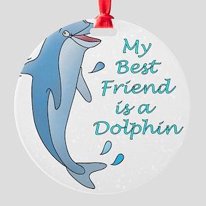 dolphin-10x10-dark Round Ornament