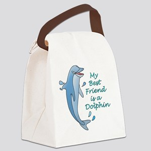 dolphin-10x10-dark Canvas Lunch Bag