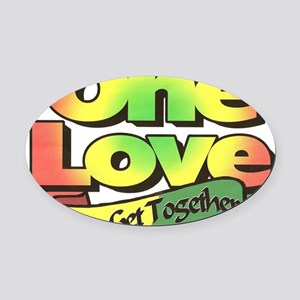 One Love dark ready--color Oval Car Magnet