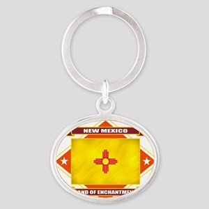 2-New Mexico diamond Oval Keychain