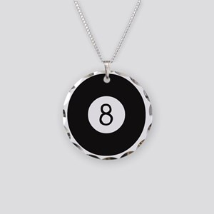 eight ball Necklace Circle Charm
