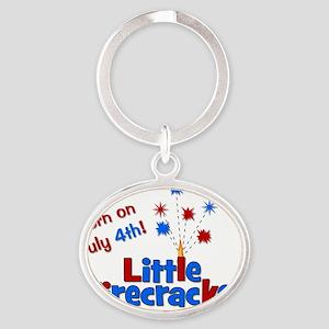 littlefirecracker_bornonjuly4th_2 Oval Keychain