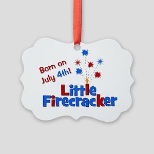 littlefirecracker_bornonjuly4th_2 Picture Ornament