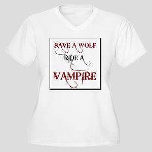 SAVEAWOLF Women's Plus Size V-Neck T-Shirt